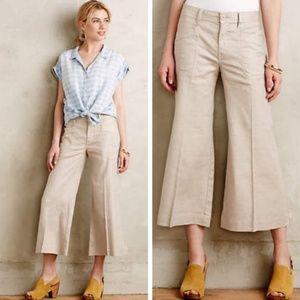Anthro Level 99 wide leg linen culotte/capri pants